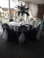 Silver hoods on black Chair covers