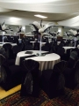Black and White ostrich feather centrepieces with lights (Emma) £30 per table